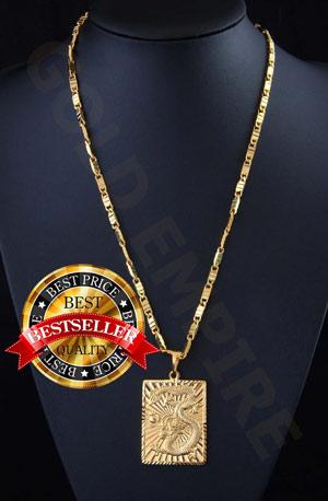 Goldkette herren mit anhänger  Herren-Kette mit Drache-Anhänger Goldkette mit 24 Karat 999 Gold ...
