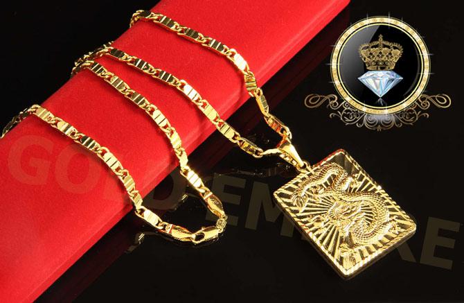 Herren-Kette mit Drache-Anhänger Goldkette 24 Karat 999