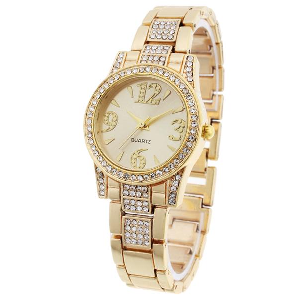 b1 ware damenuhr gold strass kristallen damen armband. Black Bedroom Furniture Sets. Home Design Ideas
