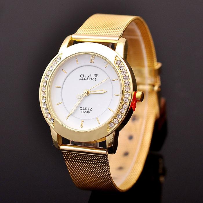 b ware damenuhr gold damen armbanduhr strass kristallen. Black Bedroom Furniture Sets. Home Design Ideas